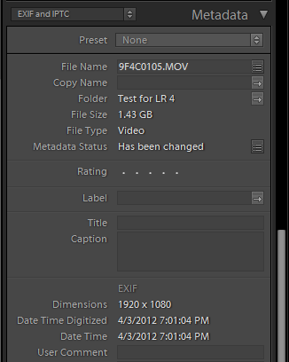 Lightroom: Read and write video metadata into video or