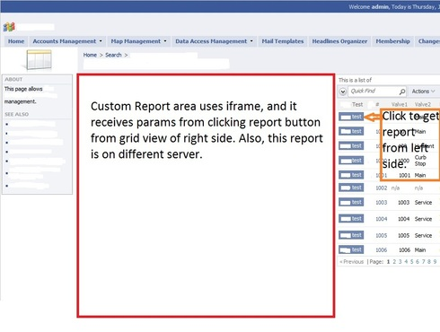 show custom report/result in iframe