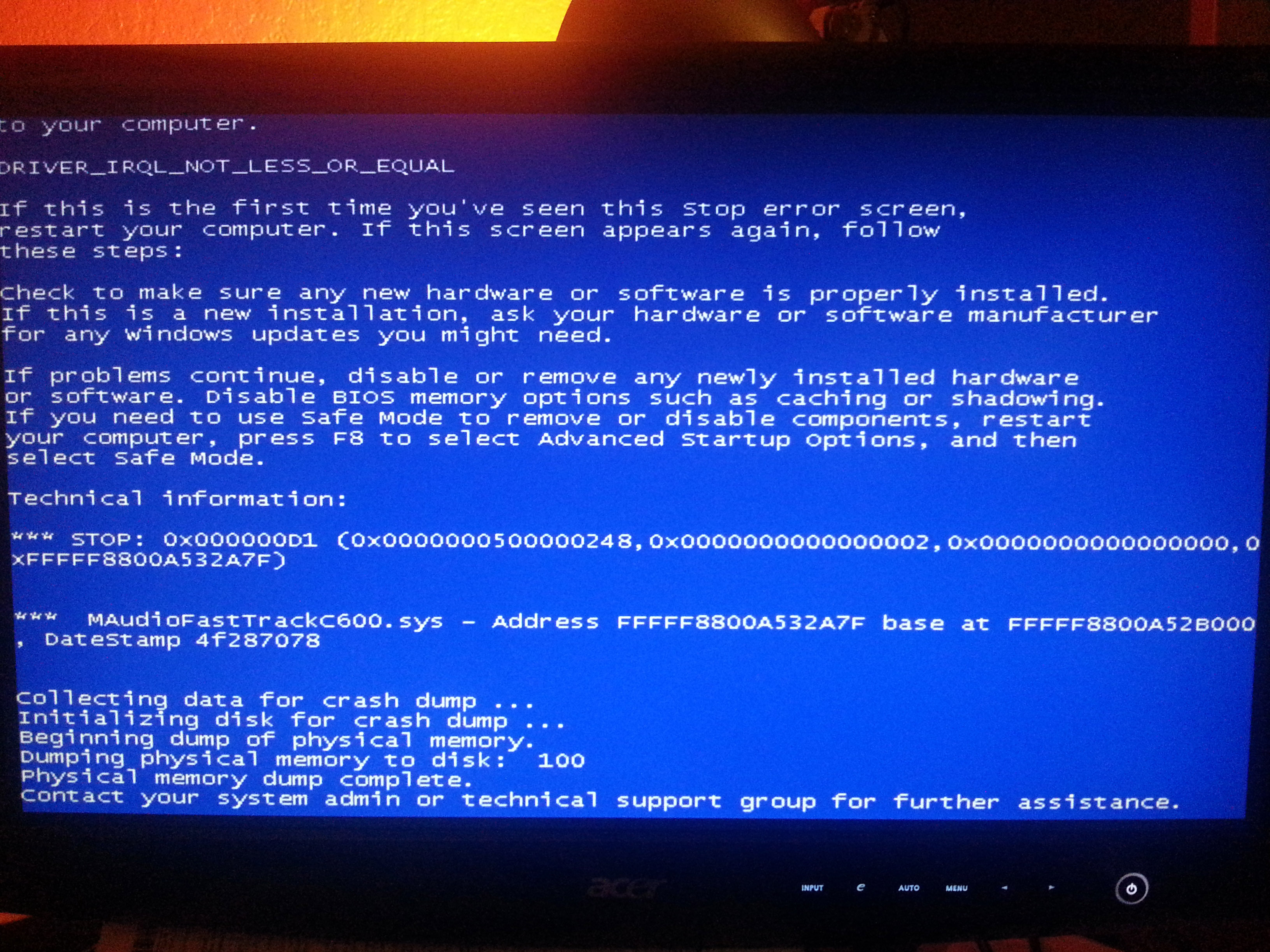 M-Audio Fast Track C600 causes Blue Screen due to driver failure ...