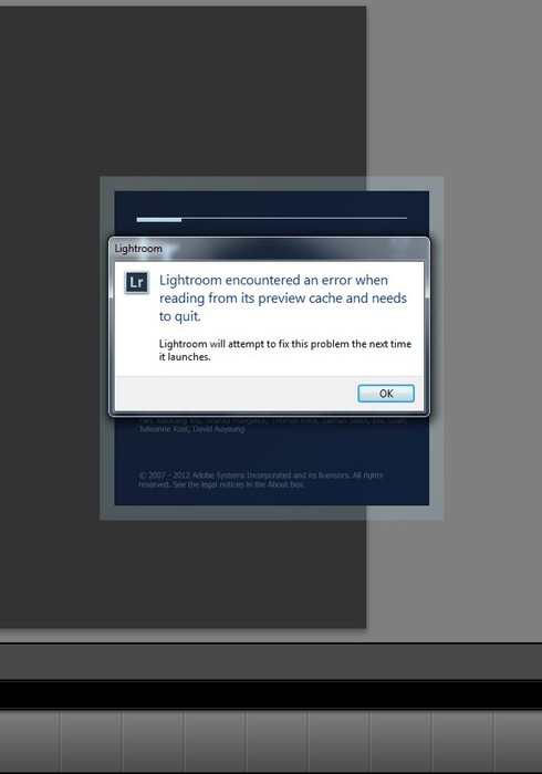 Lightroom 4: error while Reading Preview Cache | Photoshop Family