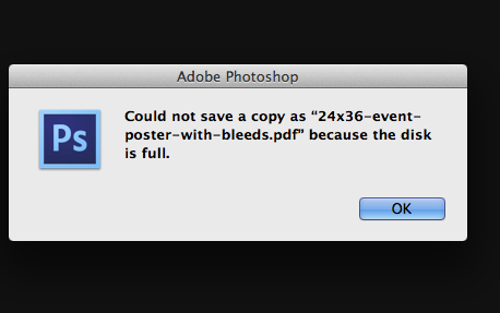 Photoshop: Disk full error when saving files | Photoshop Family